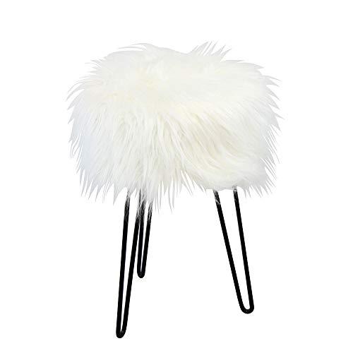 BHP Sitzhocker Sitzhocker, MDF mit Kunstfell bezogen, weiß, Metallfüße schwarz