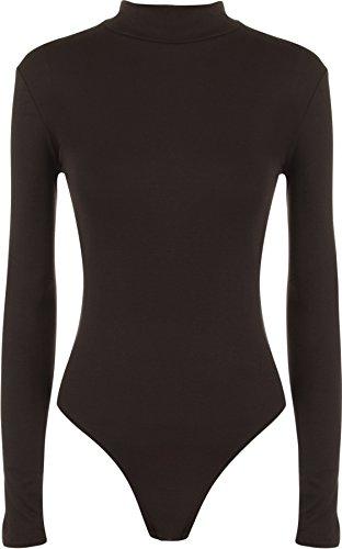 WearAll - Neu Damen Rollkragen Bodysuit Langarm Elastisch Gymnastikanzug Top - 8 Farben - Größe 36-42 Dunkelbraun