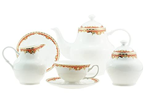 15 Piece Luxury Bone China Orange and Golden Foilage Tea / Coffee Set for 6 Persons
