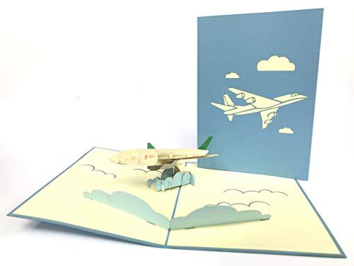 3D-Aufstellkarte, Pop-up-Karte mit Kirigami-Motiv - blaues Flugzeug, Glückwunschkarte zum Geburtstag / zur Geburt / zum Mutter- / , Valentinstag oder als Danksagungskarte