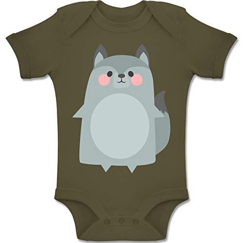 Shirtracer Karneval und Fasching Baby - Fasching Kostüm Wolf - 1-3 Monate - Olivgrün - BZ10 - Baby Body Kurzarm Jungen Mädchen