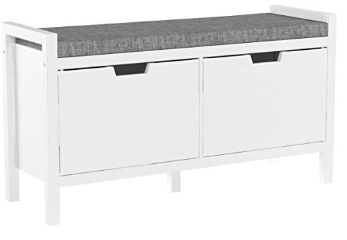 SoBuy FSR63-W Sitzkommode Sitzbank mit Sitzfläche Schuhtruhe mit Stauraum Schuhschrank Weiß BHT ca.: 91x50x30cm