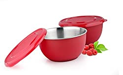 LIEFDE MICROWAVE SAFE STAINLESS STEEL PLASTIC COATED SERVING BOWL(SET OF 2)-13 CM EACH BOWL