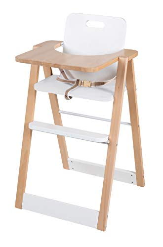 roba Klapphochstuhl Fold Up smart, Holz natur, mit Gurtsystem und Essbrett, Hochstuhl klappbar