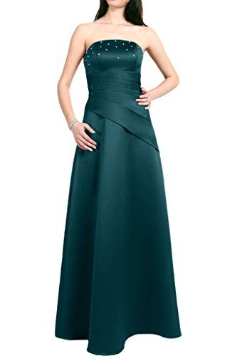 Gorgeous Bride Elegant Traegerlos A-Linie Satin Lang Abendkleider Cocktailkleid Ballkleider Dunkelblau