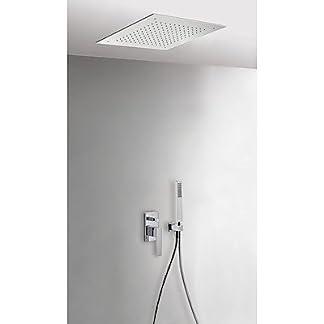Tres Grifería 20298001 – Kit de ducha monomando empotrado con cierre y regulación de caudal. · Cuerpo empotrado incluido · Rociador ducha INOX a techo 380×380mm. (1.34.944). · Soporte con toma pared. (91.06.182). · Ducha móvil anticalcárea. (202.639.01). · Flexo SATIN (91.34.609