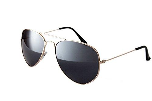 Pilotenbrille Fliegerbrille Sonnenbrille Nerd Nerdbrille Brille Vintage Classic Look UV Schutz 400 - Gold Dunkle Glässer
