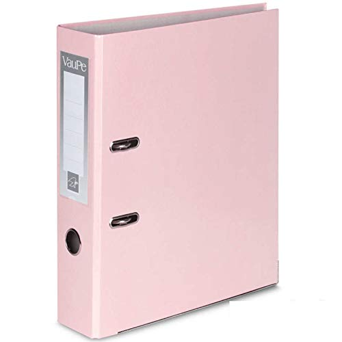 1 x Pastel Pink A4 Large 75mm Lever Arch Files Folders Metal Edge & Finger Pull Stationery Document Storage Paper Office School