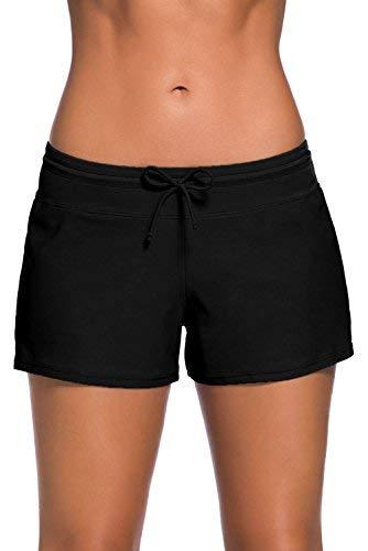 Damen Badeshorts Kurze Badehose UV Schutz Shorts Strand Wassersport Boardshorts Schnell Trocknendes Schwimmhose Schwimmshorts Schwarz,42-44(Etikettgr.L)