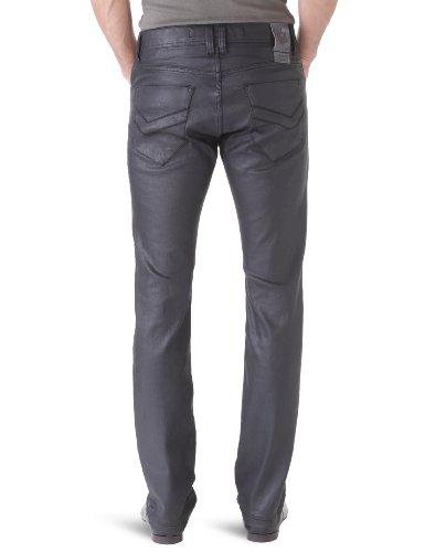Freeman T Porter Herren Straight Leg Jeanshose, Einfarbig Schwarz