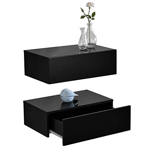 [en.casa] 2 x Mensola da parete con cassetto - Nero laccato...
