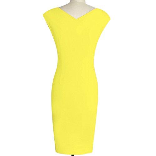 Damen Sommer Elegant knielang Business Party Kleid Ballkleid kurz ärmel CocktailFestkleid Gelb