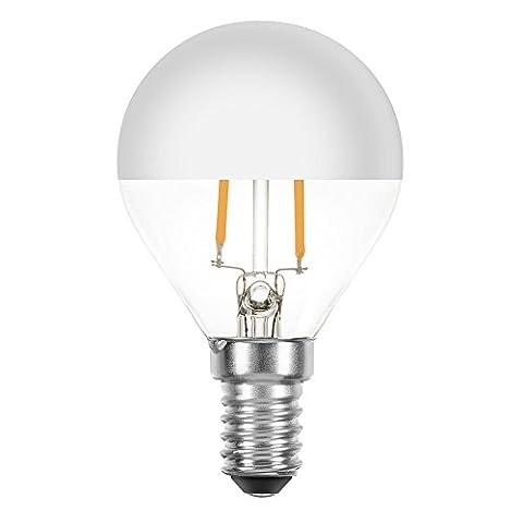 LED Filament Leuchtmittel Tropfen 2W = 25W E14 Kopfspiegel Silber Glühfaden extra warmweiß 2200K Retro