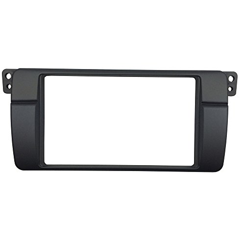 Maxiou Double 2 Din Facia für Serie 3 E46 Radio Stereo DVD Dash Installation Trim Kit Blende Lünette (2-DIN 180*105MM) Stereo Installation Kit