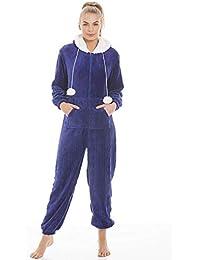 Camille Combinaison Pyjama à Capuche Polaire très Douce Luxueuse - Bleu