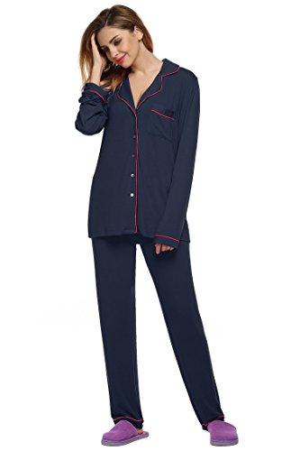 Busyall Damen Schlafanzug Pyjama set Zweiteiliger Hausanzug Dunkelblau
