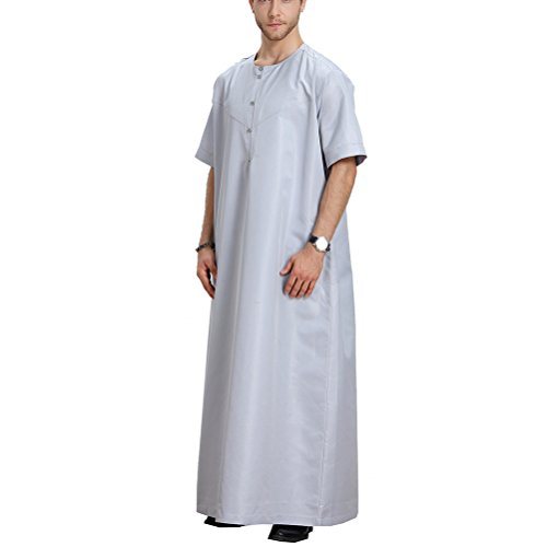 Zhhlaixing Uomo Musulmano Thobe Mens/Boys Middle East Muslim Summer Solid Color Button Down Crew Neck Short Sleeve Thobe Robe Dishdasha Gray