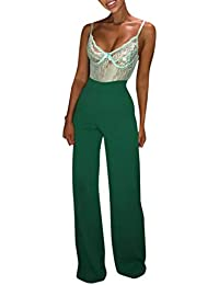 beautyjourney Pantalón Ancho de Color sólido para Mujer Pantalones Sueltos Casuales Pantalones Largos de Cintura Alta