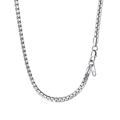 PROSTEEL Ankerkette 4mm breit Herren Halskette Edelstahl Erbskette Gliederkette 55cm/22 Kettelänge Biker Punk Rock Schmuck, Silber