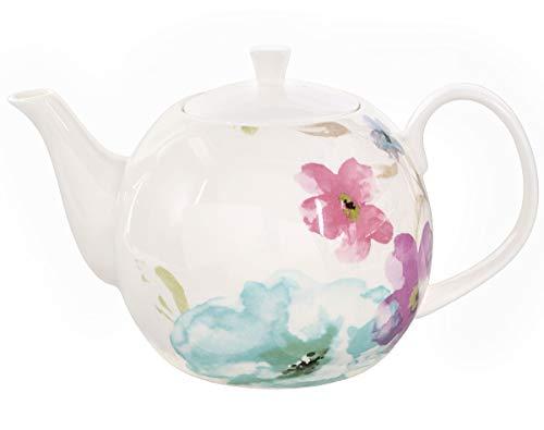 Buchensee Porzellan Kanne 1,5 Liter. Elegante Teekanne/Kaffeekanne aus Fine Bone China mit stilvollem Blumendekor etc. - Große Keramik Tee-kanne