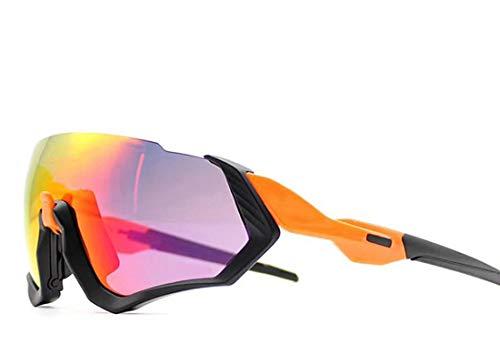 Occhiali da Sole Sportivi, Anti-UV 400 Protezione Ciclismo Occhiali da Sole con 3Lenti Intercambiabili,Uomo E Donna Antivento Aviatore Specchio per MTB,Moto,Trekking Casual,Yellow