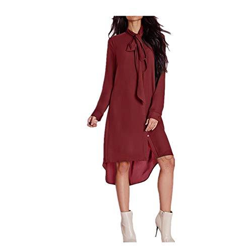 nges Hülsen-Kleid der Frauen-Mädchen-Reine Farben-unregelmäßiges Hemd-Kleid mit dem Schnüren (Farbe : Rot, Größe : L) ()
