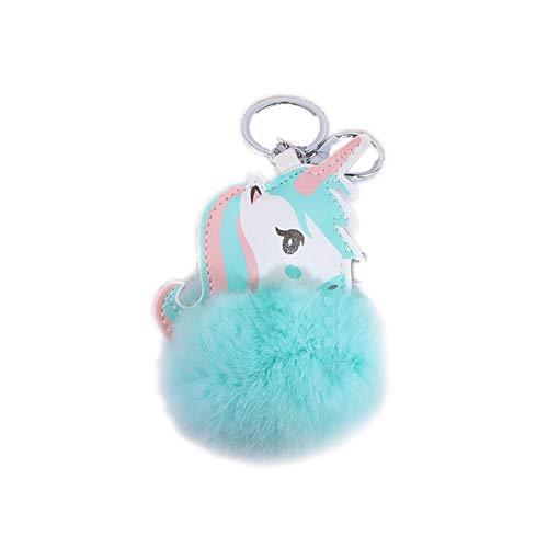 1pc Einhorn Schlüssel Cute Unicorn Plüsch-Schlüsselring-Pom Pom Kugel-Anhänger für Schlüsselbund Handtaschen-Auto-Schlüssel-Anhänger Charm Dekoration Frauen und Mädchen (blau) -Kette (Kugeln Dekorationen Blaue)