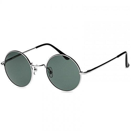 CASPAR SG038 große runde Retro Lennon Sonnenbrille/Rundbrille / Hippi Brille/Nickelbrille - Übergröße, Farbe:silber/schwarz
