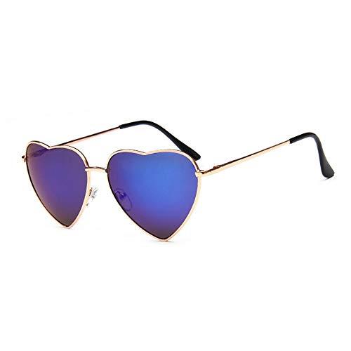 HUWAIYUNDONG Sonnenbrillen,Herz Sonnenbrille Frauen 2019 Retro Spiegel Uv400 Elastizität Bein Metall Sonnenbrille Mode Vintage Lentes