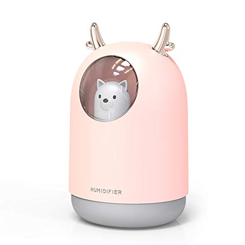 WangQiShangMao Humidificador USB 300 Ml Cute Pet Ultrasónico Cool Mist Aroma Air Oil Difusor Color Romántico Lámpara Led Humidificador Electrodomésticos