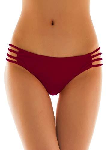 SHEKINI Damen Tanga Bikinihose String Rüschen Brazilian Bikini Slip Schnüren Höschen (XS, Weinrot) (Für Frauen Höschen Xs)