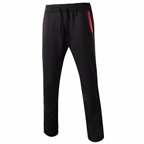 Men's Long Casual Joggers Trousers Black DimGray