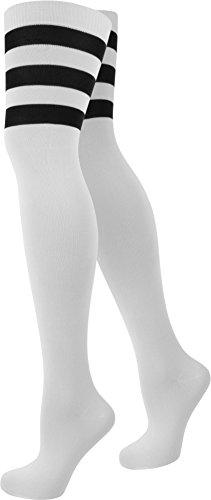 Damen Overknees in verschiedenen Designs/Baumwolle mit Elasthan in verschiedenen Farben zur Auswahl Farbe American/Stripes/Weiß Größe Onesize (Mädchen Fußball Kostüme)