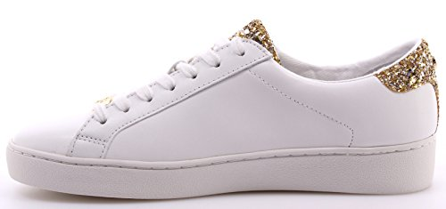 MICHAEL KORS donna sneakers basse 43S6IRFS1L IRVING LACE UP BIANCO/ORO Bianco