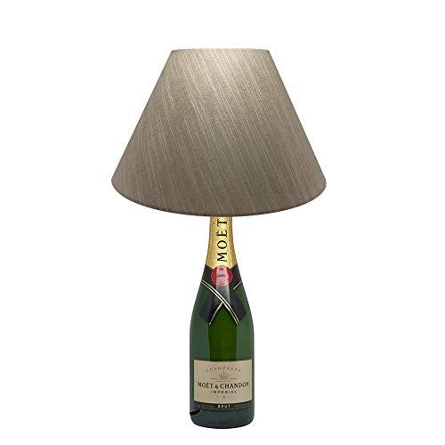Glas-antike Stehlampe (Dekoflasche Champagner Imperial - Moet & Chandon Imperial - originelle Dekolampe Tischlampe mit Stoffschirm I individuelle Tischleuchte E27 modern - Stehlampe Flaschenlicht Dekoleuchte)