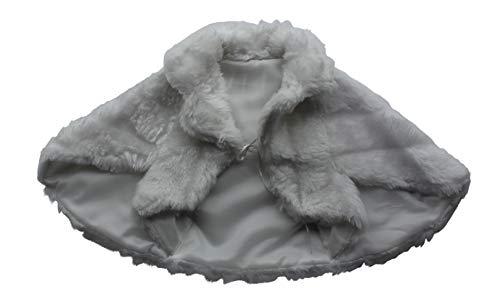 Cape Bolero für die Kommunion - Fell Imitat - K24, Größe 140/152, Farbe Weiß
