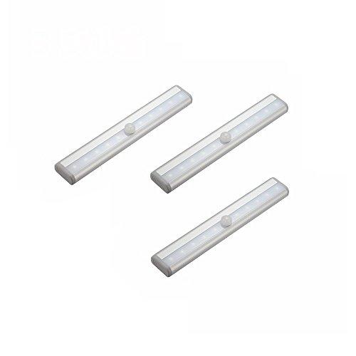 MCTECH 3 Stück Kaltweiß Nachtlicht 10 LEDs Kabellos Schranklampe mit Bewegungsmelder Sensor und Magnetstreifen Für Schrank Wandschrank Unter-Kabinett Bar-Licht-Lampe -