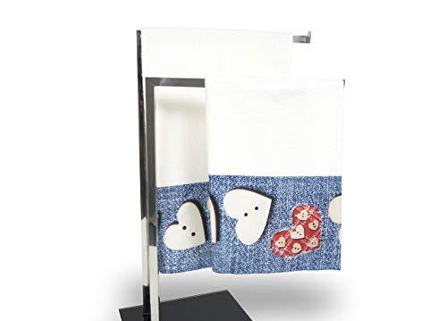 Set de serviettes et serviettes de bain en impression numérique ligne fresh Jeans Telo Bagno denim