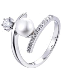 American Diamond And Pearl Solitaire Ring In 925 Sterling Silver, Ring For Women- By Ornate Jewels