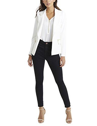 Lipsy Damen Taillierter Blazer mit Reißverschlusstaschen Creme EU 46 (UK 18) (Creme-fleece-jacke)