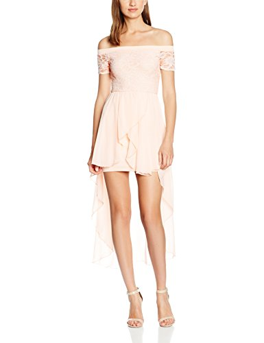 Quiz Glitter Lace Bardot Chiffon Hem, Robe Femme Rose - Rose (Blush)
