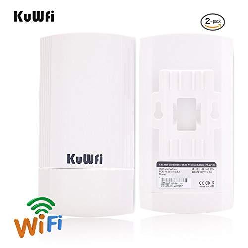 KuWFi 2-Pack 450Mbps Wireless Outdoor-CPE-Kit, Indoor & Outdoor Punkt-zu-Punkt Wireless Bridge/CPE Unterstützt 2KM Übertragungsentfernung Lösung für PTP, PTMP (Vorprogramm WDS) Lösung Kit