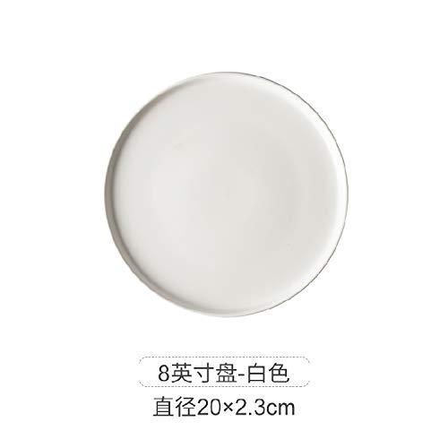 AAPP SHOP Nordic kreative HauseKeramik GerichtWestlichen PastaSteak Platte tablettschwarz Geschirr frühstückPlatterundePlatte weiß/Matte Pizza Platte (20 cm)