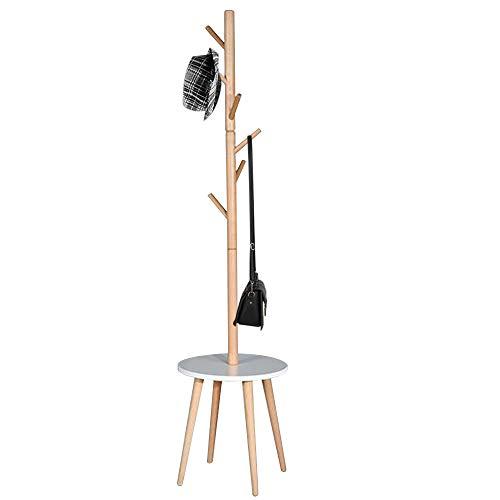 Bakaji attaccapanni appendiabiti di design a piantana da terra in legno con 6 ganci appendi abiti e base tavolino dimensione 40 x 40 x 170 cm