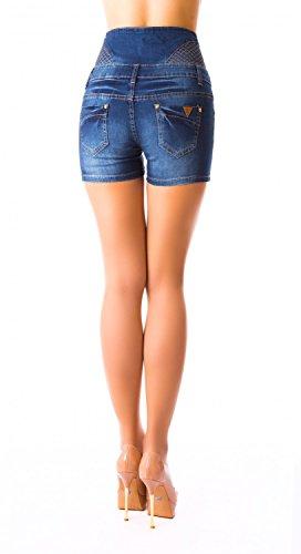 Damen Jeans Shorts, Hotpants kurze Hose Corsage Hochschnitt ( 473 ) Blau