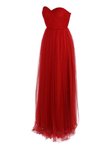 Dressystar Robe de soirée longue, à Col en Cœur, Sans Bretelles, Au drapé, en Tulle Rouge
