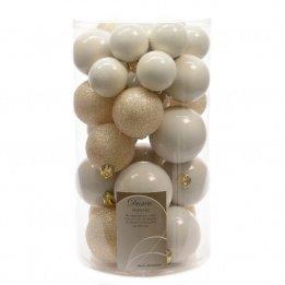 Générique - Lot de 30 boules noel blanc laine