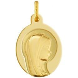 VIERGE MARIE AURÉOLÉE - Médaille Religieuse - Or 18 carat - Hauteur: 20 mm - Largeur: 17 mm - www.diamants-perles.com