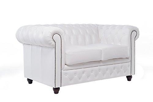 Original Chesterfield Sofas – 2 / 3 Sitzer – Vollständig Handgewaschenes Leder – Antik weiß