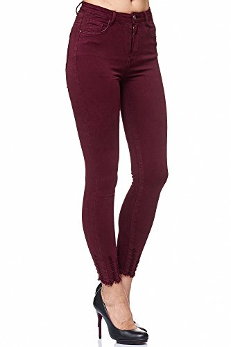 Elara Damen Jeans Hose Stretch| High Waist | Skinny Röhrenjeans| Slim Fit | Hochschnitt |Chunkyrayan 4D963 Wine 38